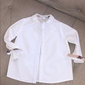 Burberry Girls White Cotton Long sleeve shirt